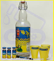 Комплект «My Alcobattle» пищевые концентраты, ароматизаторы: виски, коньяк, ром, бутылка, стаканы..
