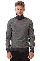 Мужской свитер De Facto серого цвета и темной горловиной