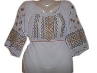 "Жіноча вишита блузка ""Синьо-жовтий узор"" (Женская вышитая блузка ""Сине-желтый узор"") BL-0066"