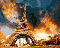 Картина-раскраска Закат над Парижем