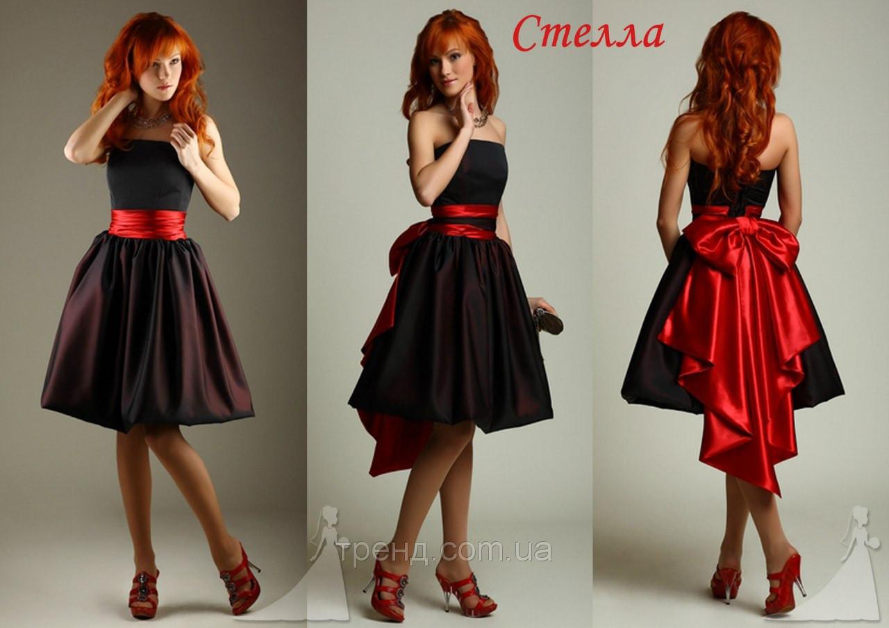 Черно красное платье с бантом