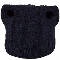Молодежная  шапка с Ушками, унисекс  цвет темно синий
