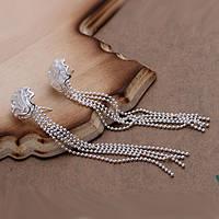 Сережки Розочки с цепочками покрытие 925 серебро проба