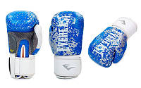Перчатки боксерские кожаные на липучке EVERLAST синий-белый