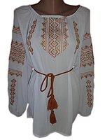 "Жіноча вишита блузка ""Золотистий орнамент"" (Женская вышитая блузка ""Золотистый орнамент"") BN-0006"