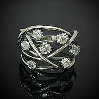 Серебряное кольцо женское с камнями