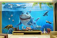 """Фотообои """"Подводный мир для детской"""", текстура песок, штукатурка"""