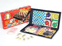 Настольная игра - набор 9863 шахматы, шашки, карты, домино, змейки и лесницы, тритрак, лудо и нарды