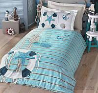 Подростковое постельное белье Luoca Patisca Ranforce Sea 19024 Полуторный комплект