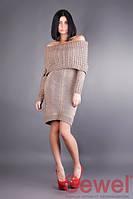 Теплое женское вязаное платье