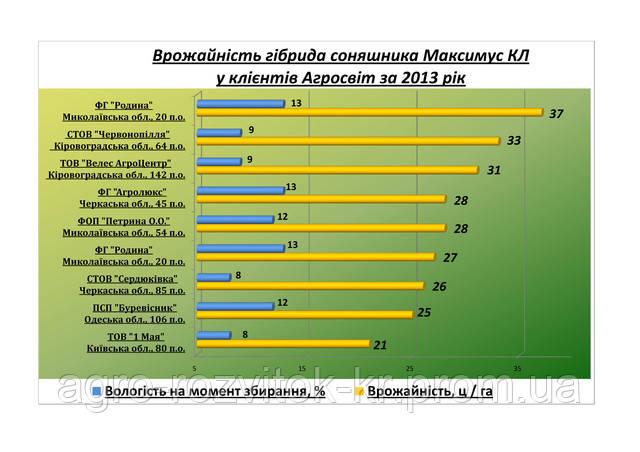 Врожайність гібрида соняшника Максимус КЛ за 2013 рік