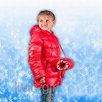 Куртка Пуховик для девочек с удобной муфтой, красный