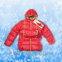 Куртка-Пуховик для девочек с муфтой (коралл)