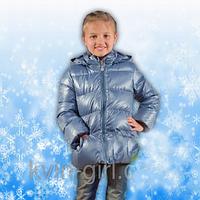 Куртка пуховик для девочки, цвет графит