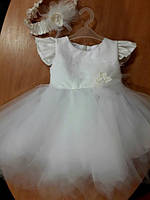 Платье  Нарядное пышное платье для девочки из фатина с повязочкой