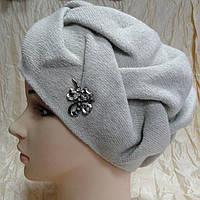 Шапка-берет с широким плетением косы