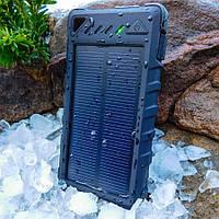 Портативное зарядное устройство Solar Power Bank 8000mAh, 2-USB , LED, Bag - Black