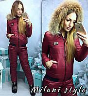 Костюм зимний куртка с мехом на капюшоне и брюки плащевка-лаке 5 цветов 1Gmil55