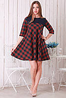Трикотажное женское платье Клетка шерстяное трапеция клеш р.46-48 Y257-1
