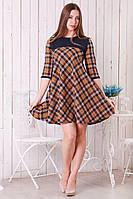 Трикотажное женское платье Клетка шерстяное трапеция клеш р.46-48 Y257-2