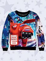 Свитшот/толстовка с ярким 3D-принтом Big Hero 6 на флисе для мальчиков, размеры от 1 года до 12 лет.