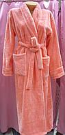 Халат махровый женский длинный с шалью размер M