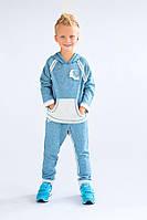 Детский спортивный костюм для мальчика 4-8 лет (толстовка+брюки) ТМ Модный карапуз (бирюза) 03-00474-3