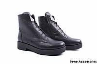 Ботинки женские кожаные Liliya (ботильоны, каблук, овчина, черные, антискользящая подошва, Украина)
