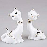 """Комплект фигурок из фарфоровых 2 шт., 8 см. """"Кошки"""" белый со стразами"""