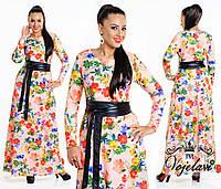 Платье с цветочным принтом в пол+ пояс кожа. 48-54р.