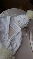 Комплект набор Tutu зимний шапка и шарф белый теплый, размер 50-54, для девочки, шерсть