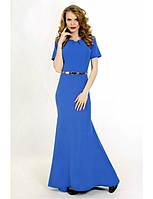 Женское вечернее платье макси синего цвета с коротким рукавом.