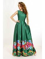 Женское вечернее платье макси зеленого цвета с пышной юбкой из атласной ткани, без рукава.
