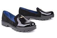 Кожаные женские туфли цвет замш черный+лак