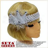 Детская повязка резинка Маленькая Принцесса серебристая с короной