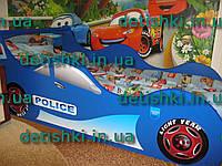 """Кровать машина """"Полиция"""" серая и синяя"""