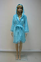 Халат женский махровый NS-031 Nusa бирюзовый, L/XL
