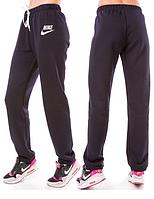 ТЕПЛЫЕ спортивные штаны женские Найк (Nike) зимние на флисе прямые темно синие Украина 220-03/1