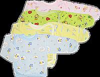 Распашонка для новорожденного на кнопках сбоку, цветная, байковая, р. 56, ТМ Алекс