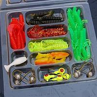 Рыболовный набор: cиликоновые приманки 35 шт+10 шт крючков