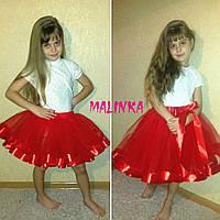 """Необыкновенная, пышная, фатиновая юбка для девочки """"Атласная отделка"""" (два вида 30см и 40см) РАЗНЫЕ ЦВЕТА"""