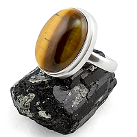 Тигровый глаз, серебро 925, кольцо, 148КГ