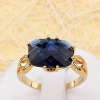 R1-1878 - Позолоченное кольцо с сапфирово-синим фианитом, 19.5 р.