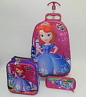 Набор детский чемодан на 6 колесах + сумка + пенал, София, Sofia the First 520311