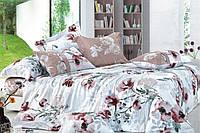 Постельное белье Фиона ранфорс 100% хлопок ТМ Вилюта Украина серый белый цветы маки