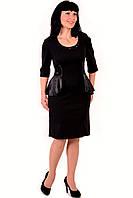 Платье приталенное , на полную фигуру,отделка атласом , трикотаж, платье для полной молодежи,Пл 780031.
