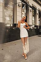 Женское красивое гипюровое платье с фатином 74 / молочное