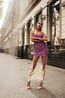 Женское красивое гипюровое платье с фатином 74 / сиреневое