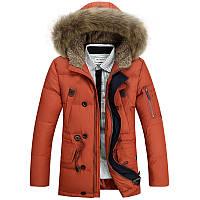 Мужская зимняя удлинённая куртка парка пуховик JEEP, оранжевый! РАЗМЕР L-XXXL