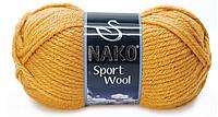 Турецкая пряжа нитки для вязания Nako Sport Wool. Горчичный